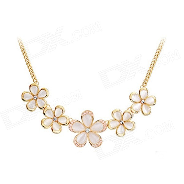 Women's Sunflower Shaped Opal + Zinc Alloy Pendant Necklace - Tranlucent White + Golden elegant crystal drill zinc alloy chain pendant necklace for women golden translucent white