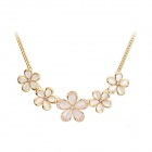 Women's Sunflower Shaped Opal + Zinc Alloy Pendant Necklace - Tranlucent White + Golden