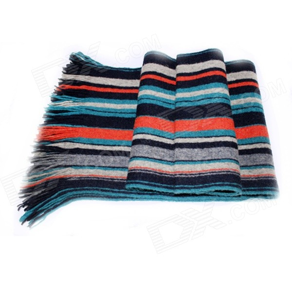 SA-26 Men's Fashion Warm Wool Scarf - Black + Multi-Color