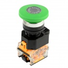 LA125B-11M Momentary-type Mushroom Button Switch - Black + Green