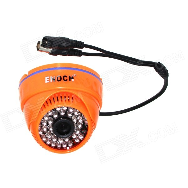 Enoch YN-919 CMOS 7030 650TVL NTSC 48-LED IR Night Vision Camera Monitor - Orange - DXCCTV Cameras<br>Product Code: YST7030DSP-N YST7030DSP-P Sensor: 1/4 ASX340CS Photosensitive area: 4.077mm x 3.136mm Effective Pixels: NTSC:720(H) x 487(V) horizontal resolution: 700TVL SNR: &amp;gt;50dB Minimum illumination: Color: 0.2Lux / F1.2 black and white: 0.1Lux / F1.2 Video Output: 1.0Vp ~ p75ohm no white balance auto iris Automatic gain control trace: no Mirroring: REV. / NOR switchable OSD menu: no Electronic Shutter: auto Ambient temperature: - 10 ~ + 55 &amp;deg;C Humidity: 85% RH or less Output interface: 1.5 x 3 (three-wire video output) Interface: BNC / DC With English manual Length?30CM<br>