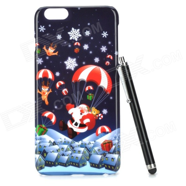 Christmas Gifts Pattern Protective PC Back Case w/ Stylus Pen for IPHONE 6 PLUS - Black + Multicolor iface mall for iphone 6 plus 6s plus glossy pc non slip tpu shell case black