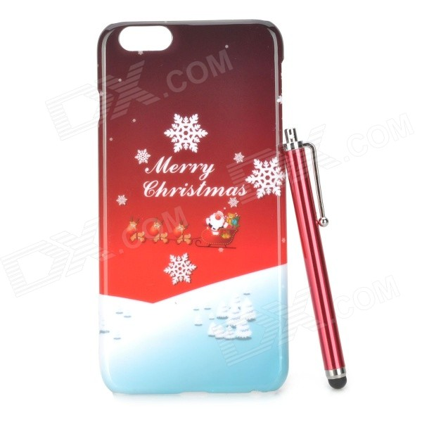 Christmas Snow Pattern Protective PC Back Case w/ Stylus Pen for IPHONE 6 PLUS - Red + Multi-Color elegance tpu pc hybrid back case with kickstand for iphone 7 plus 5 5 inch red
