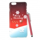 Christmas Snow Pattern Protective PC Back Case w/ Stylus Pen for IPHONE 6 PLUS - Red + Multi-Color