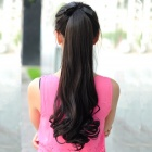 Curly Synthetic Fiber Ponytail Extension Wig - Black