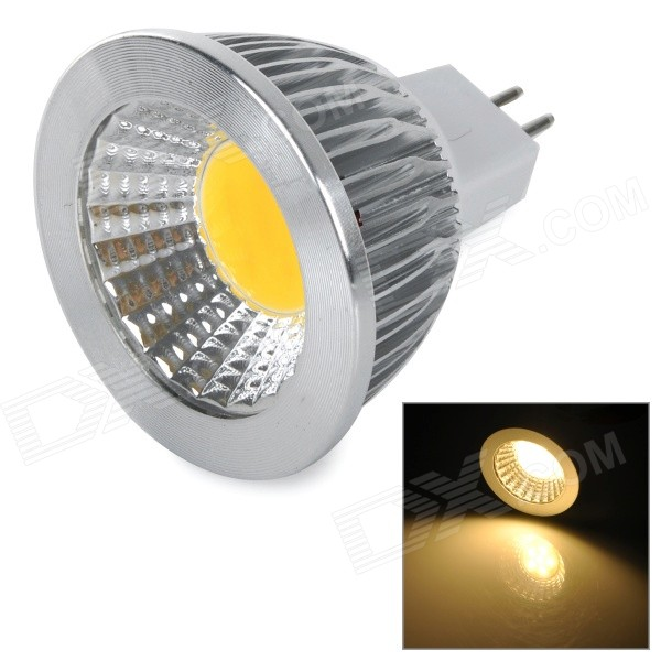 JRLED MR16 4W 300lm 3300K COB LED Warm White Light Spotlight - White + Silver (DC 12V)