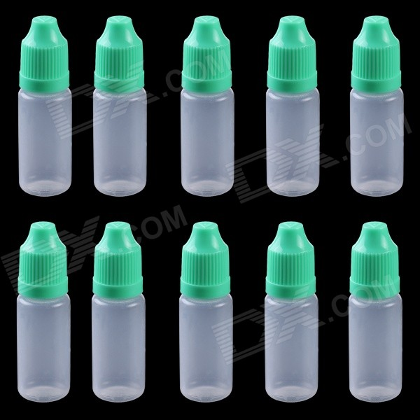 Professional 10ml Empty Plastic Squeezable Liquid Oil Dropper Storage Bottle  - Green(10 PCS)