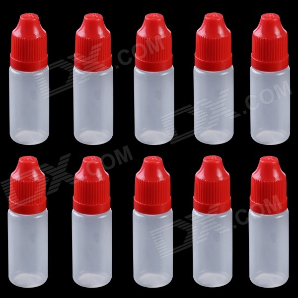 Professional 10ml Empty Plastic Squeezable Liquid Oil Dropper Storage Bottle  - Red (10 PCS) alcohol and liquid container bottle white 180ml