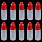 Professional 10ml Empty Plastic Squeezable Liquid Oil Dropper Storage Bottle  - Red (10 PCS)