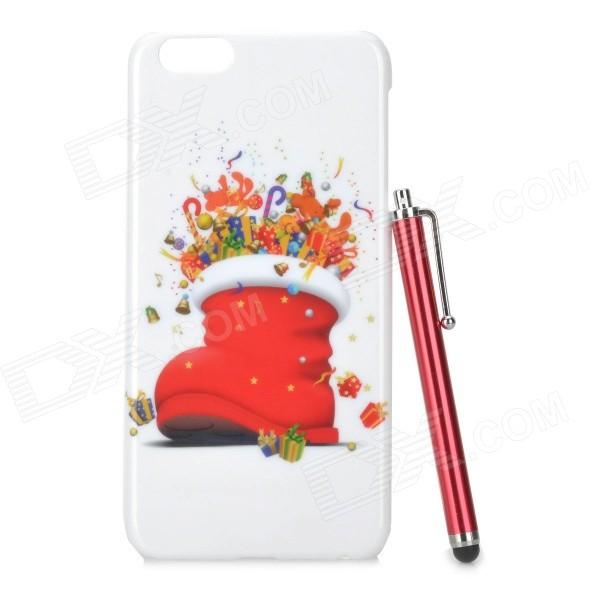 Christmas Boot Pattern Protective PC Back Case + Stylus Pen for IPHONE 6 PLUS - White + Red protective tpu back case w stand for samsung galaxy s4 i9500 transparent purple red