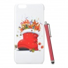 Christmas Boot Pattern Protective PC Back Case + Stylus Pen for IPHONE 6 PLUS - White + Red