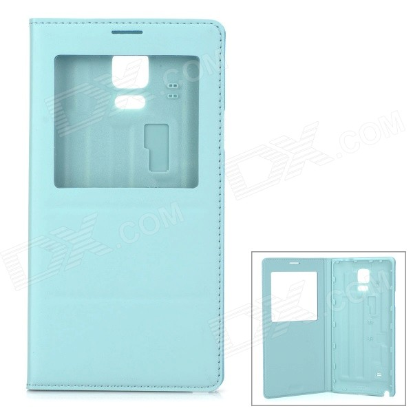 Protective Flip Open PU Case w/ Display Window for Samsung Galaxy Note 4 - Light Blue miniisw c 3 pu leather flip open case w display window for samsung galaxy s5 off white black