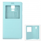 Protective Flip Open PU Case w/ Display Window for Samsung Galaxy Note 4 - Light Blue
