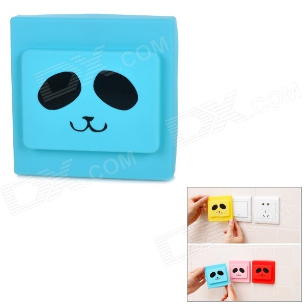 Creative Lovely Pattern Silicone Decoration Cover Protector Guard for Wall Light Switch - Blue