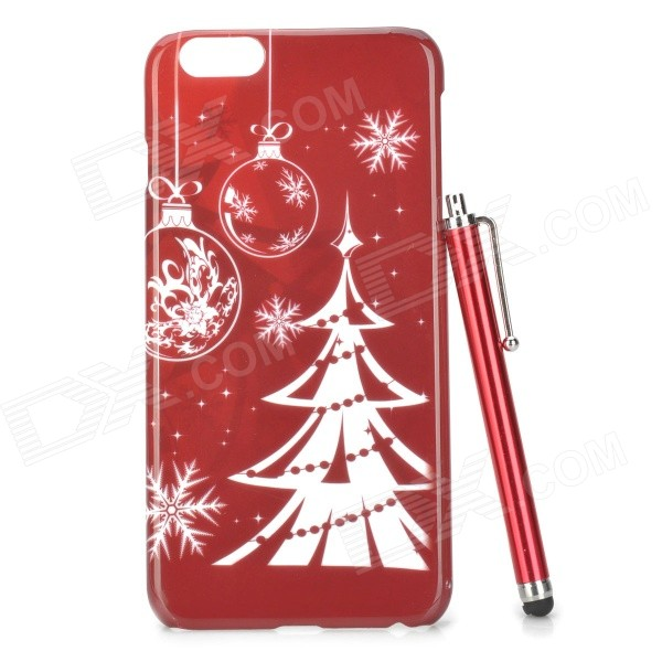 Christmas Tree Pattern PC Back Case w/ Stylus Pen for IPHONE 6 PLUS - Red + White kavaro swarovski rose gold plated pc hard case for iphone 6s 6 mandala pattern