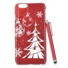 Christmas Tree Pattern PC Back Case w/ Stylus Pen for IPHONE 6 PLUS - Red + White