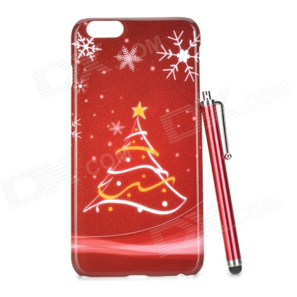 Christmas Tree Pattern Protective PC Back Case + Stylus Pen for IPHONE 6 PLUS - Red + Multi-Color elegance tpu pc hybrid back case with kickstand for iphone 7 plus 5 5 inch red