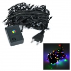 10W 280lm 100-LED RGB 8-Mode Christmas Tree Light String - Greenish Black (10M / AC 220~240V)