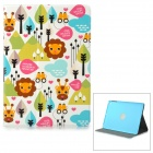 Lofter Lions Pattern Protective PU + PC Fall w / Stand für IPAD AIR - Weiß + Blau + Multicolor