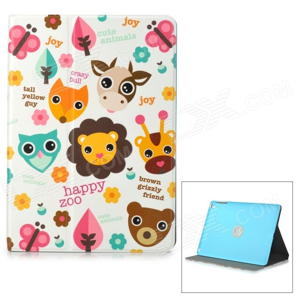 LOFTER Happy Zoo Pattern Protective PU + PC Case w/ Stand for IPAD AIR - White + Brown + Multicolor enkay jellyfish pattern protective pu leather smart case w stand for ipad air ipad 5 multicolor