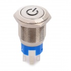 Stainless Steel Red LED Reset Push Button Switch w/ Red LED Indicator - Silver (24V)