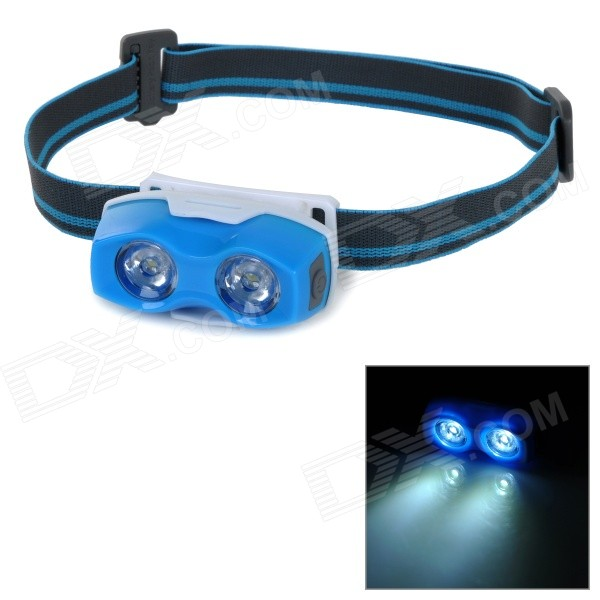 Portable 2-Mode 2-LED Cool White Light Headlamp - White + Blue + Multi-Color зарядное устройство для xbox xbox360 x360 pc