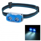 Portable 2-Mode 2-LED Cool White Light Headlamp - White + Blue + Multi-Color