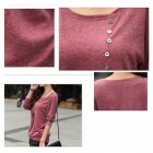 AC22014 Women's Korean Style Trendy Crochet Knitting Long Pullovers Blouse Sweater - Dark Red (S)