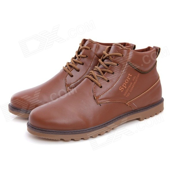 NT00022-15 Men's Winter Trendy Plush Lining Warm Martin Ankle Boots - Yellowish Brown (Pair / 42)