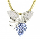 Women's Fashion Phoenix Style Rhinestone Inlaid Zinc Alloy Pendant Necklace - Silver + Blue