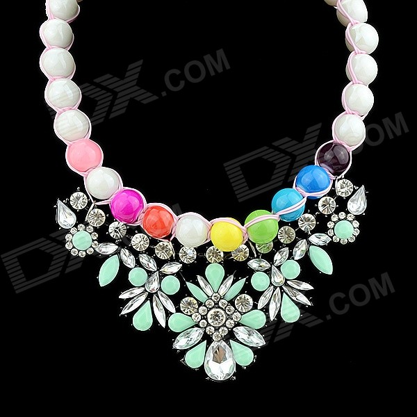 Women's Flower Shaped Rhinestone Inlaid Choker Necklace - Green + White + Multi-Color elegant flower shaped rhinestone inlaid tin alloy brooch silver multi color