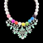 Women's Flower Shaped Rhinestone Inlaid Choker Necklace - Green + White + Multi-Color