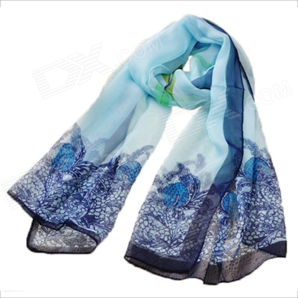 Wome's Unique Rural StyleThin Chiffon Shawl / Scarf - Sapphire Blue + Multi-Color