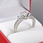 Women's Crown Style Zirconia Stone 316L Stainless Steel Inlaid Ring - Silver (Size 6)