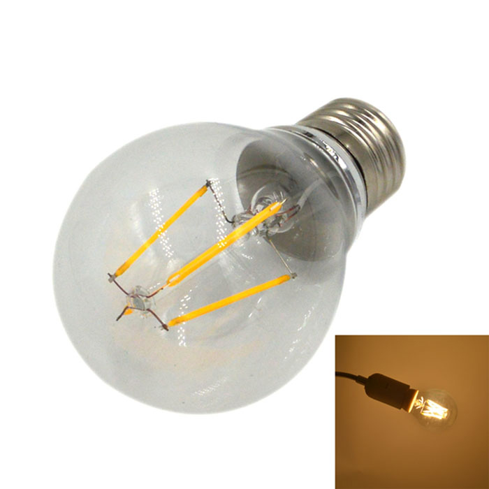 E27 3.5W 100lm 3000K 4-LED Warm White Light Filament Bulb - White (AC 220~240V)