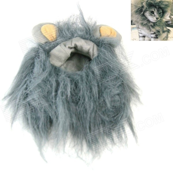 Lion Style Cosplay Synthetic Furs Collar Scarf / Wig for Pet Cat - Grey (Size M) a cat that doesn t like its home