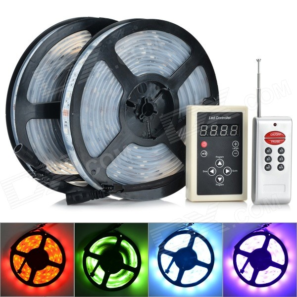 144W 6000LM 6000K 600 x 5050 SMD LED RGB Light Strip + 8-Key Remote Controller (DC 12V / 5m)