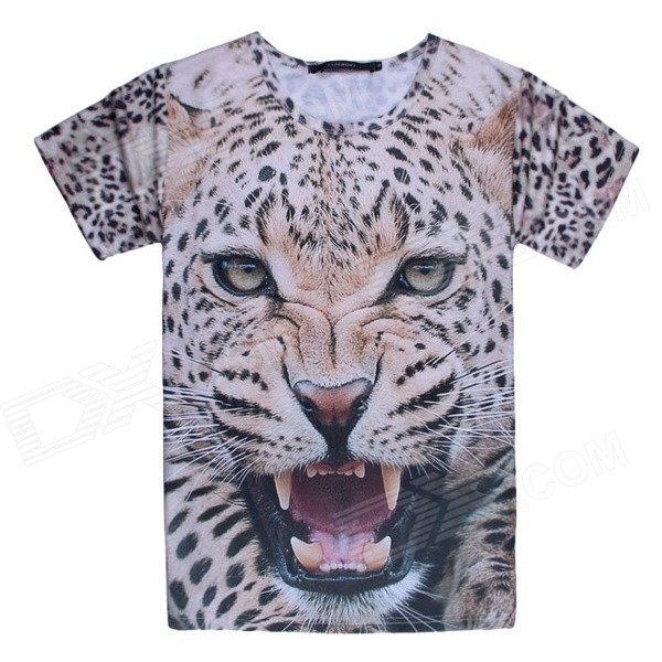Men's 3D Printing Leopard Head Pattern Short Sleeves Cotton T-shirt - Grey + Multicolor (L)