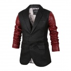 YT-721 Men's Fashionable Stitching Slim PU Leather Jacket - Black + Red (XL)