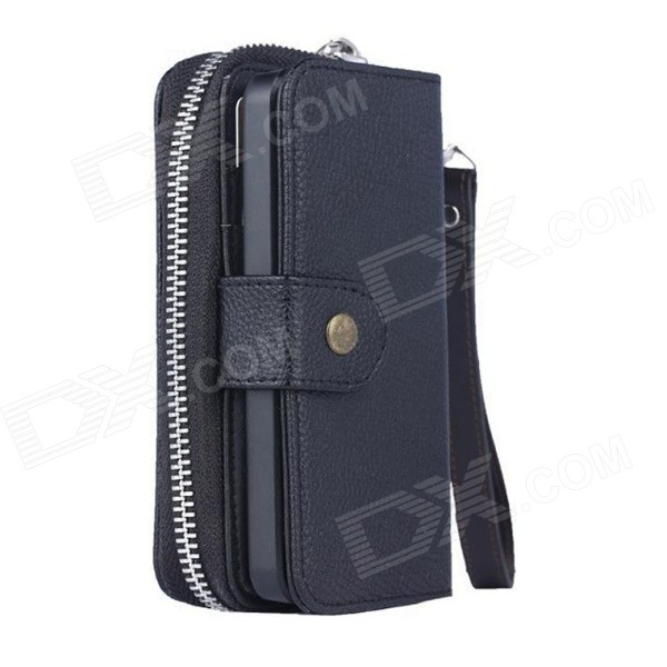 Fashionable PU Leather Zipper Wallet Case for IPHONE 6 4.7 - Black кошелек leather pu 2015 d108 wallet