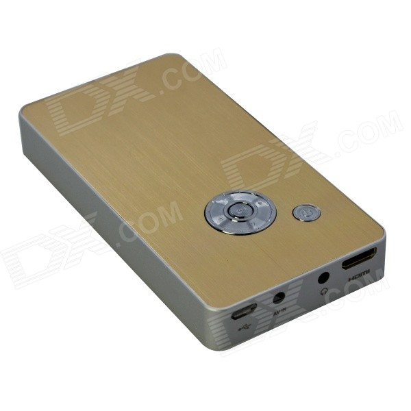 EJIALE EJL005 Portable LCOS Mini Projector w/ HDMI, USB, TF, AV - White + Golden