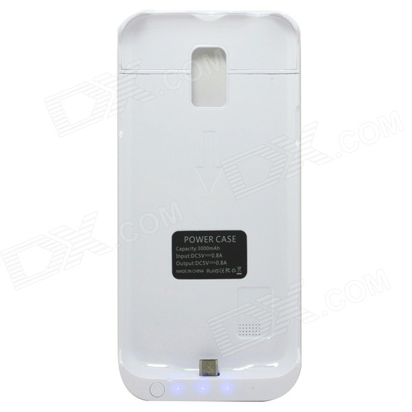 3000mAh Li-po Portable Battery Charger Power Back Case for Samsung Galaxy S5 Mini - White
