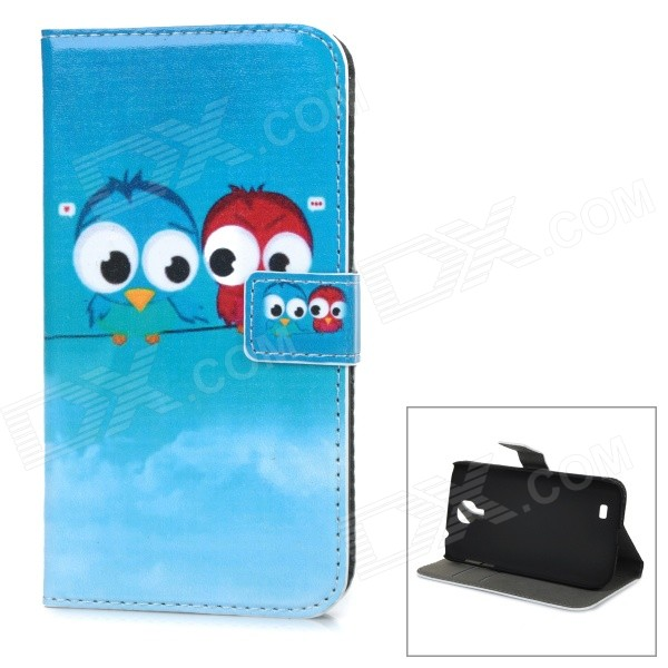 Cute Owl Pattern PU Leather Wallet Case w/ Card Slot, Stand for Samsung Galaxy S4 / i9500 - Blue for iphone 7 plus pattern printing light spot decor leather wallet case with lanyard cute cow