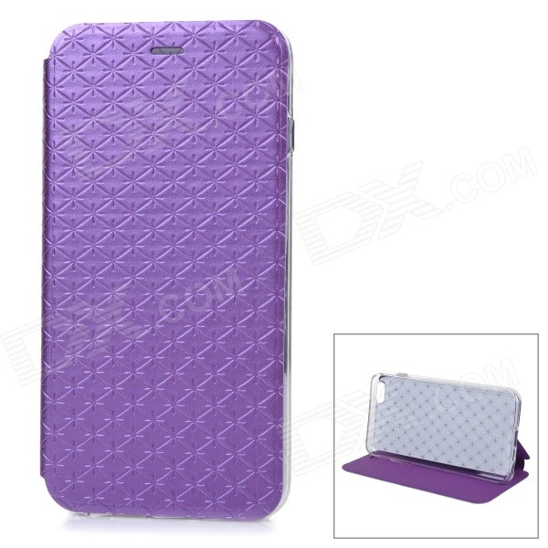 Stylish Rhombus Grain Protective Flip-Open PU Case Cover w/ Stand for IPHONE 6 PLUS - Purple imprinted roses leather stand cover shell for iphone 7 plus purple