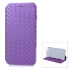 Stylish Rhombus Grain Protective Flip-Open PU Case Cover w/ Stand for IPHONE 6 PLUS - Purple