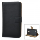 Protective Artificial Leather Case w/ Stand for Samsung Galaxy Note 4 - Black
