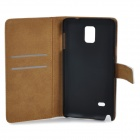 Protective Artificial Leather Case w/ Stand for Samsung Galaxy Note 4 - White