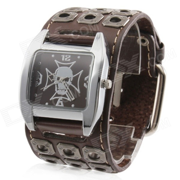 Y315 Men's Skull Style PU Leather Band Analog Quartz Wrist Watch - Brown