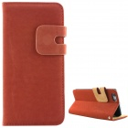 High Quality Leather Wallet Style Flip Open Case w/ Card Slots for IPHONE 6 PLUS - Brown