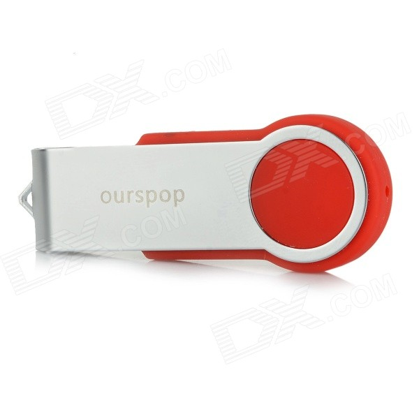 Ourspop U336 Rotary USB 2.0 Flash Drive - Red + Silver (128GB)